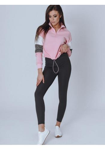 Módní dámská mikina růžové barvy s krátkým zipem