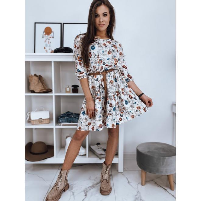Bílé květované šaty s volnějším střihem pro dámy