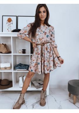 Dámské květované šaty s volnějším střihem v růžové barvě