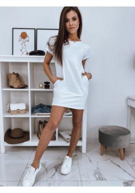Bavlněné dámské šaty bílé barvy s krátkým rukávem