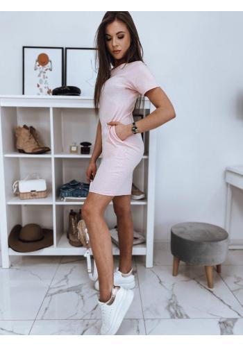 Růžové bavlněné šaty s krátkým rukávem pro dámy