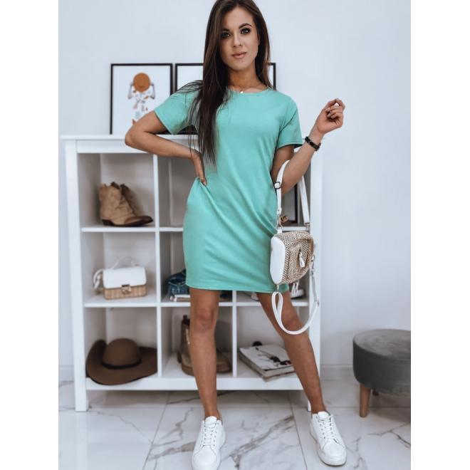 Dámské bavlněné šaty s krátkým rukávem v mátové barvě