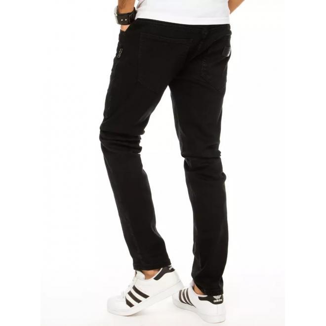 Černé módní rifle s kapsami na stehnech pro pány