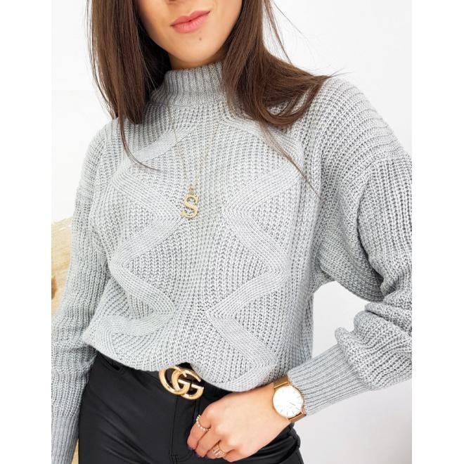 Světle šedý stylový svetr s cikcak vazbou pro dámy