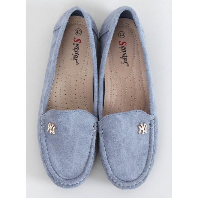 Světle modré semišové mokasíny s ozdobou pro dámy