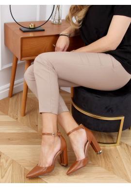Elegantní dámské lodičky hnědé barvy na módním podpatku