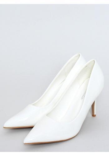 Bílé lakované lodičky na podpatku pro dámy