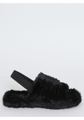 Kožešinové dámské pantofle černé barvy s gumičkou