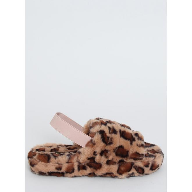 Hnědé kožešinové leopardí bačkory s gumičkou pro dámy