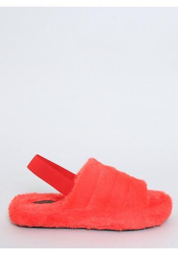 Kožešinové dámské pantofle oranžové barvy s gumičkou