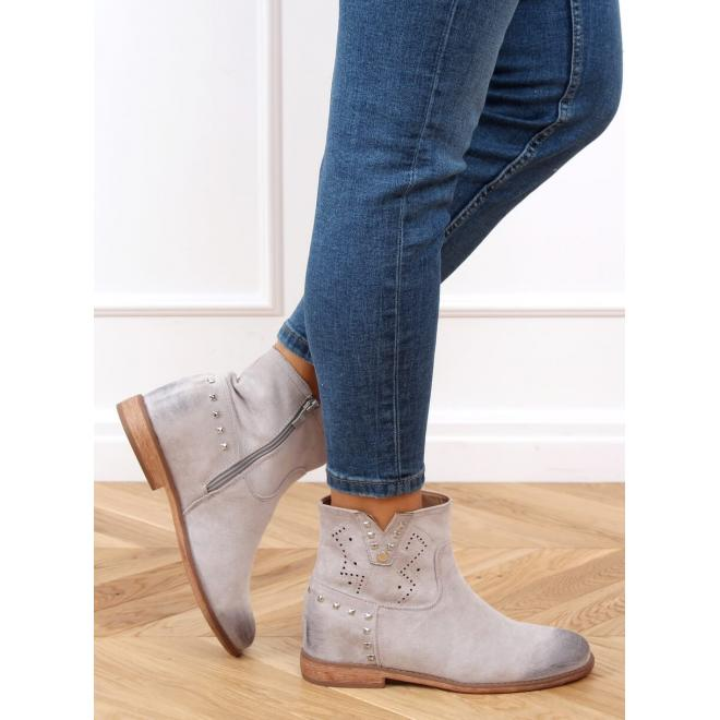 Šedé ažurové boty na skrytém podpatku pro dámy