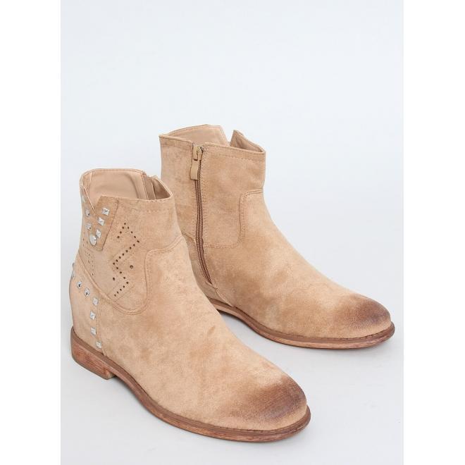 Ažurové dámské boty béžové barvy na skrytém podpatku