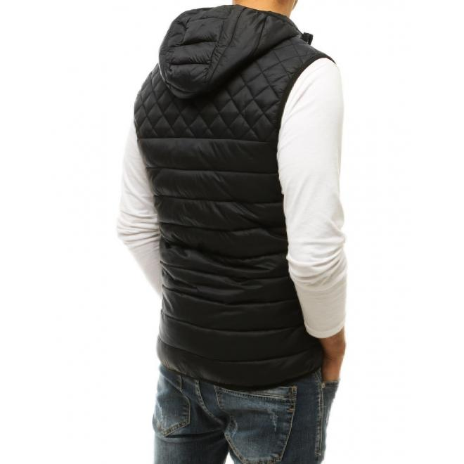 Prošívaná pánská vesta černé barvy s kapucí
