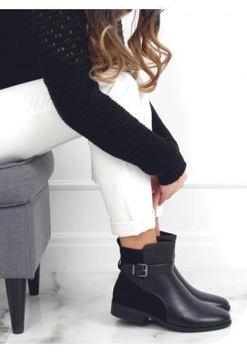 Černé kotníkové boty s přezkou pro dámy ve výprodeji