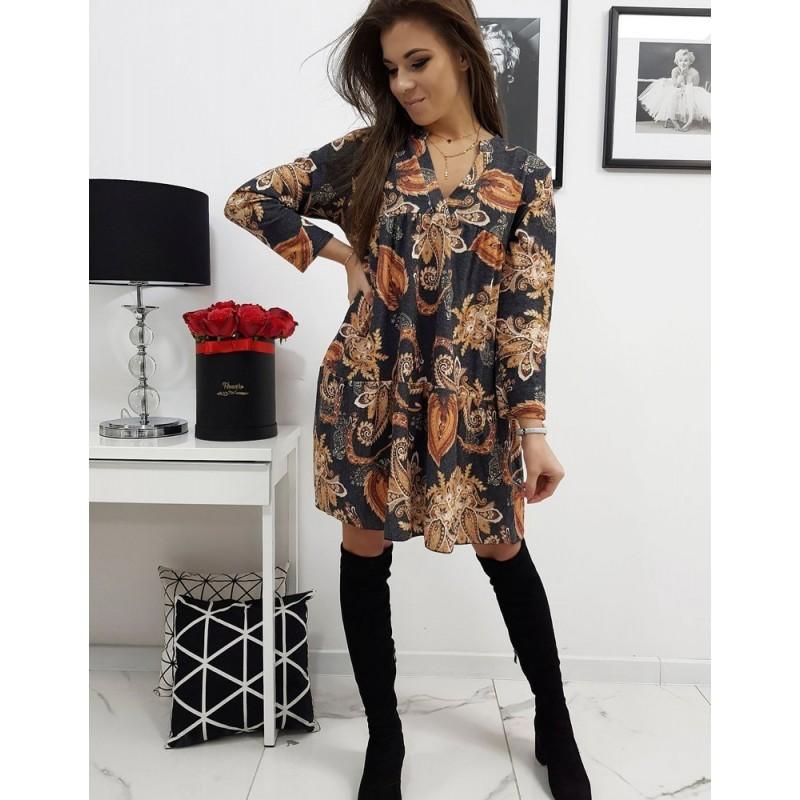 Černé vzorované šaty s dlouhým rukávem pro dámy