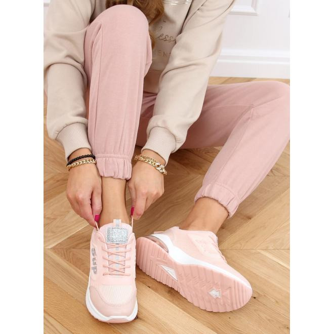 Módní dámské tenisky růžové barvy s třpytivými vložkami