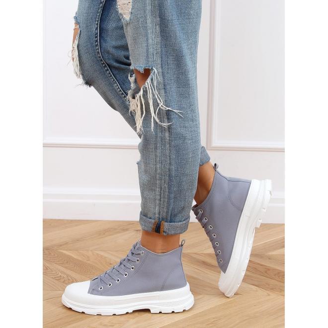 Dámské kotníkové tenisky s módní podrážkou v světle modré barvě