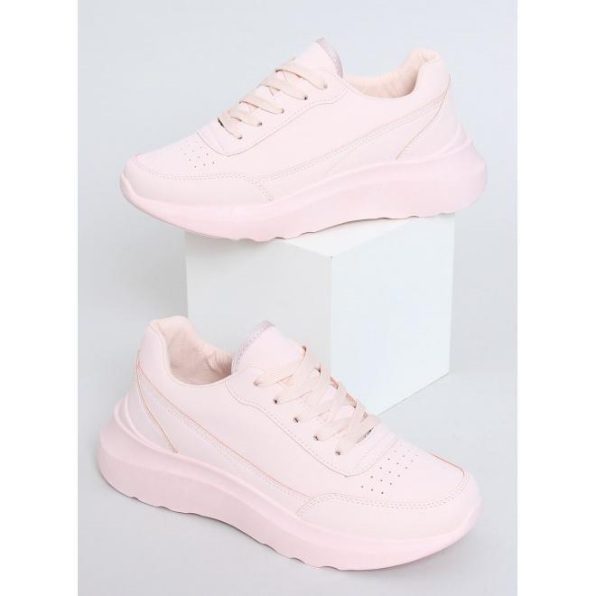 Růžové sportovní tenisky s vysokou podrážkou pro dámy