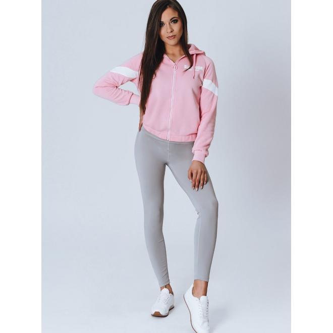 Stylová dámská mikina růžové barvy s nápisem na kapuci