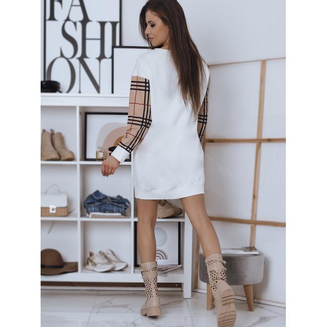 Volné dámské šaty bílé barvy s potiskem