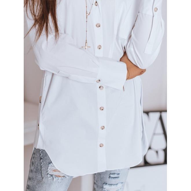 Dlouhá dámská košile bílé barvy s doplňky