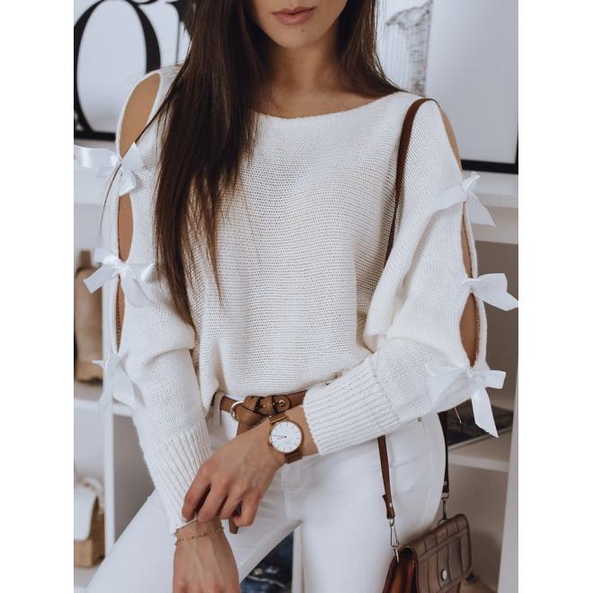 Bílý volný svetr s ozdobnými mašlemi pro dámy