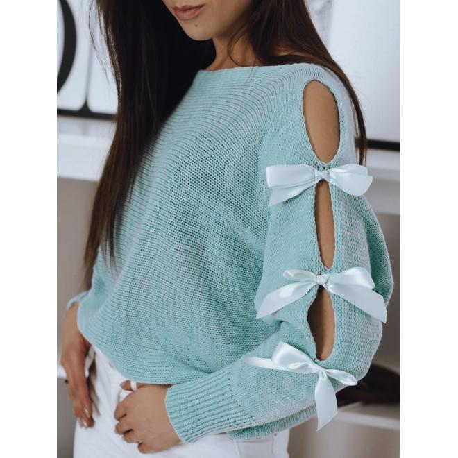 Tyrkysový volný svetr s ozdobnými mašlemi pro dámy