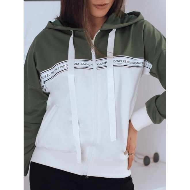 Khaki sportovní mikina s kapucí pro dámy