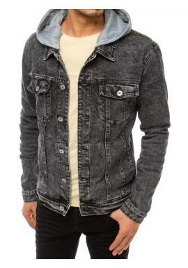 Pánská riflová bunda s potiskem na zádech v černé barvě