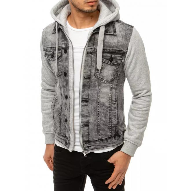 Riflová pánská bunda světle šedé barvy s teplákovými rukávy