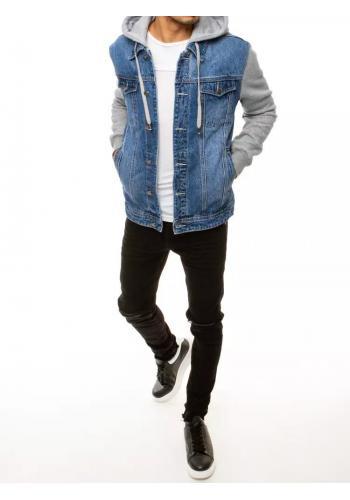 Modrá riflová bunda s teplákovými rukávy pro pány