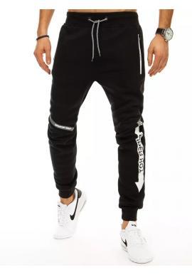 Pánské módní tepláky s potiskem v černé barvě