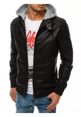 Pánská kožená bunda s odepínací kapucí v černé barvě