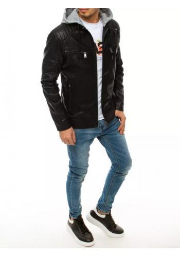 Černá kožená bunda s odepínací kapucí pro pány
