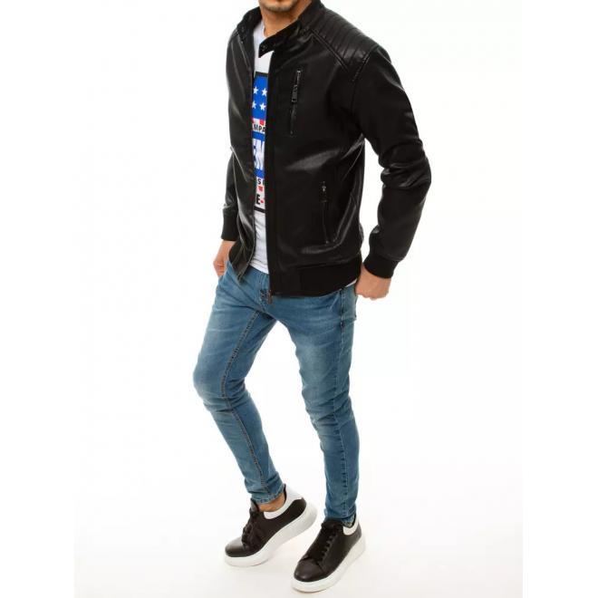 Kožená pánská bunda černé barvy s ozdobným zipem