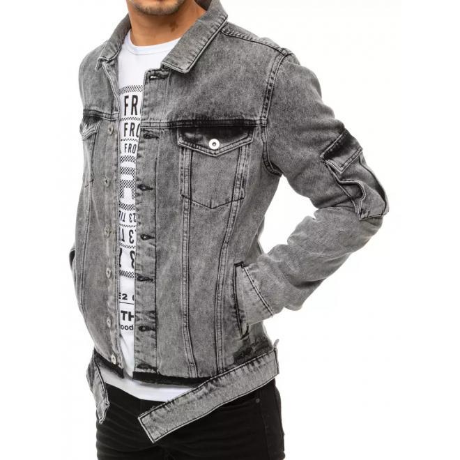 Riflová pánská bunda šedé barvy s dírami
