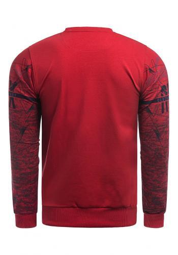 Červená stylová mikina s potiskem pro pány