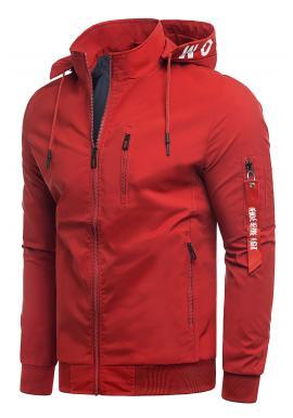 Jarní pánská bunda červené barvy s potiskem na kapuci