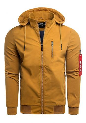 Velbloudí jarní bunda s potiskem na kapuci pro pány