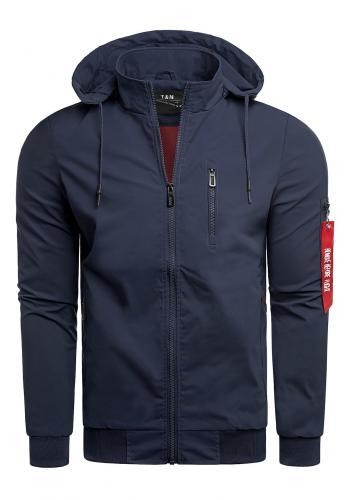 Pánská jarní bunda s potiskem na kapuci v tmavě modré barvě