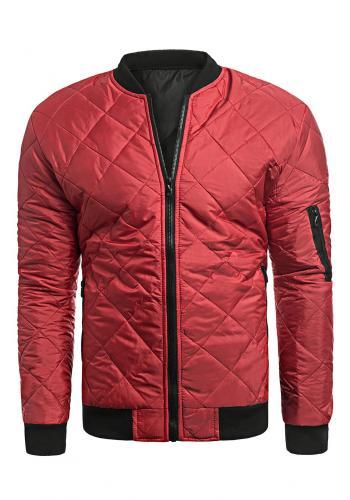 Prošívaná pánská bunda červené barvy na jaro