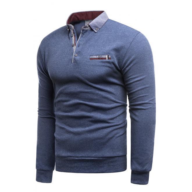 Pánský módní svetr s límcem v modré barvě