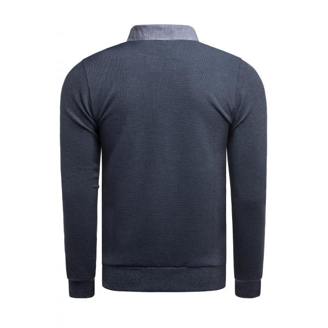 Módní pánský svetr tmavě modré barvy s límcem