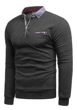 Tmavě šedý módní svetr s límcem pro pány