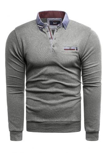 Pánské módní svetry s límcem v šedé barvě