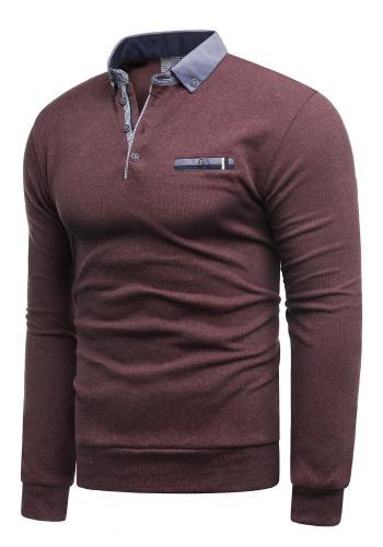 Módní pánský svetr bordové barvy s límcem