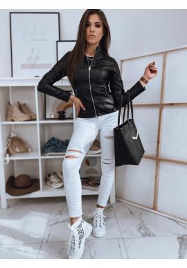 Koženková dámská bunda černé barvy s prošíváním