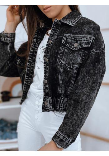 Dámská krátká riflová bunda v černé barvě