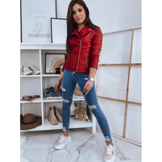Koženková dámská bunda červené barvy s prošíváním