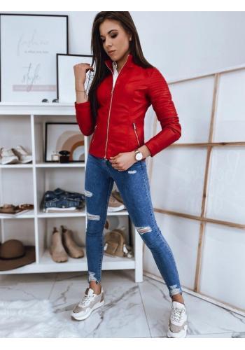 Červená koženková bunda s prošíváním pro dámy